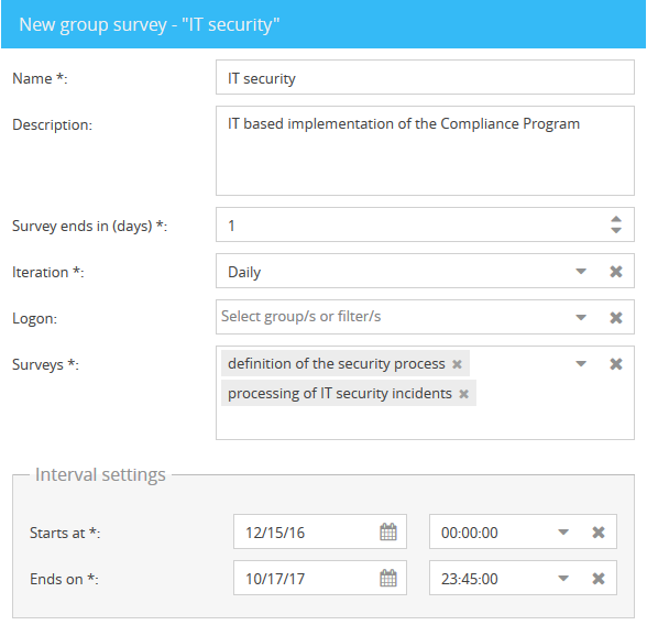 Individual surveys can be summarized to group surveys. Reminder mechanisms and interval details enable new time-related options.